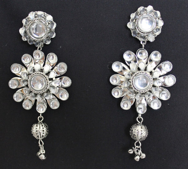 Earring 2539 Dangling Silver Crystals Indian Jewelry Shieno Sarees