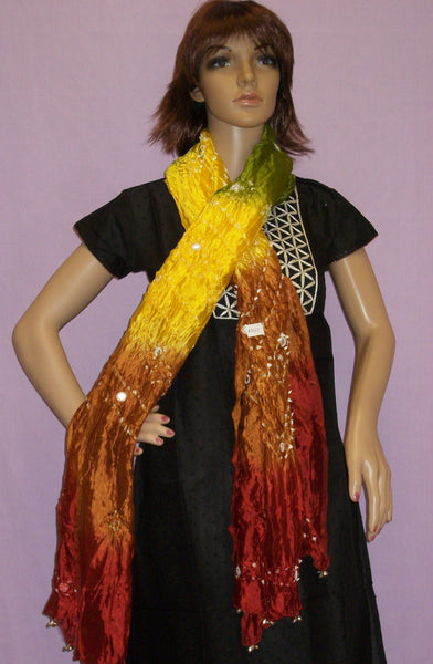 Scarf 2663 Yellow Silk Bandhni Dupatta Chunni Shawl Wrap Shieno San Francisco