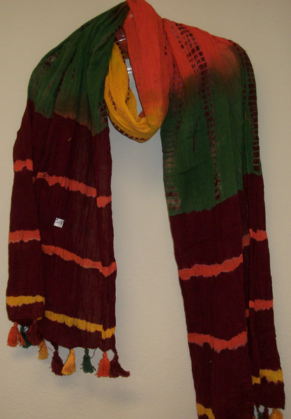 Scarf 2674 Tie Dye Multi Color Cotton Dupatta Chunni Shieno