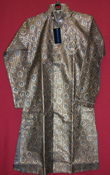 Boy's 2710 Sherwani Kurta Gray Blue Indian Clothes Shieno Sarees