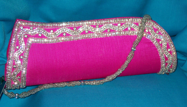 Clutch 2725 Pink Tussar Wedding Wear Clutch Purse Shieno Sarees