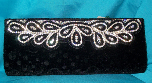 Clutch 2726 Black Velvet Wedding Wear Clutch Purse Shieno Sarees