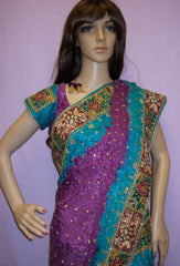 Saree 2738 Purple Georgette Wedding Party Wear Sari Shieno Sarees
