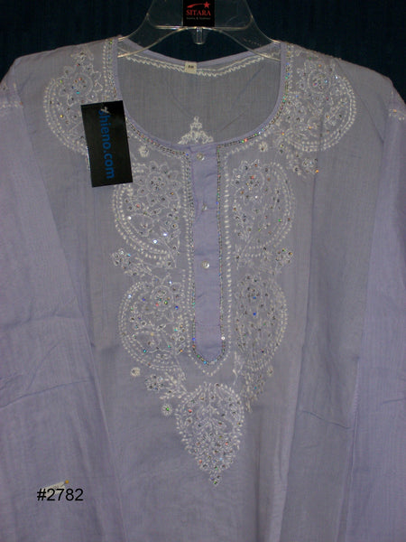 Kurti Tunic Shirt Blouse Lilac Cotton