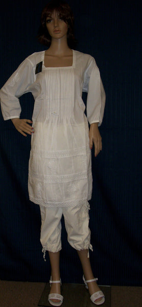 Blouse 2786 White Cotton Embroidered Tunic Top Kurti Shirt Shieno