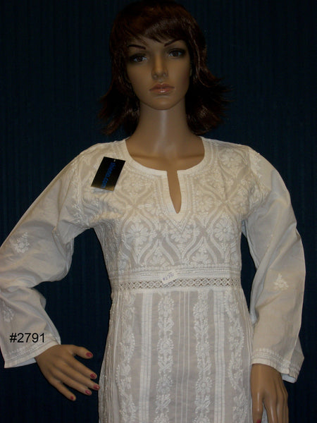 Blouse 2791 White Cotton Lucknawi Tunic Top Kurti Shirt (S) Shieno