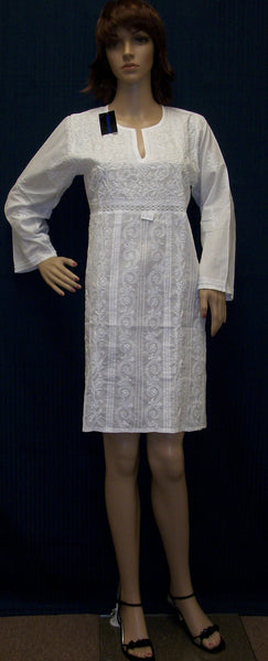 Blouse 2792 White Cotton Lucknawi Tunic Top Kurti Shieno (M)