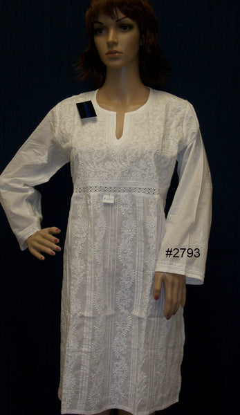 Blouse 2794 White Cotton Lucknawi Tunic Top Kurti Shieno (M-L)
