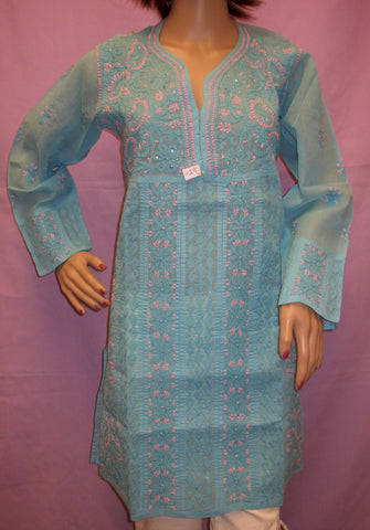 Tunic Blouse Kurti 029 Turquoise Cotton Embroidery Shieno Pleasanton