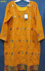 Blouse 2981 Mustard Georgette Large Size Cocktail Embroidered Kurti