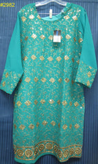 Blouse 2982 Green Georgette Large Size Cocktail Embroidered Kurti