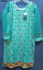 Blouse 2983 Green Net Small Size Cocktail Embroidered Kurti