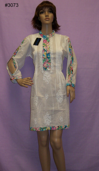 Flared Blouse 3073 White Cotton Anarkali Kurti Blouse Shieno