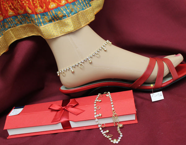 Anklet 3096 Golden Payal Indian Payal Shieno Sarees