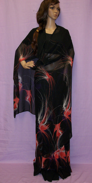 Saree 309 Black Chiffon Printed Japan Sari Shieno Sarees