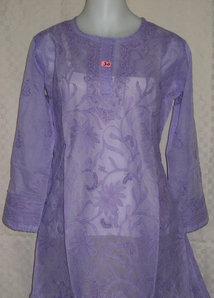 Blouse 030 Cotton Purple Hand Embroidered Medium Size Tunic Top Kurti Shieno