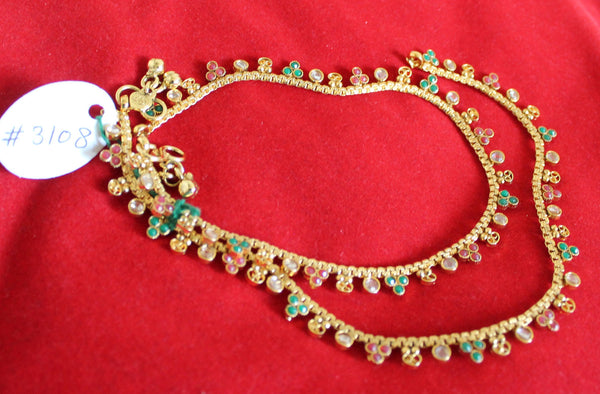 Anklet Payal 3108 Golden Anklet Indian Designer Payal Shieno Sarees