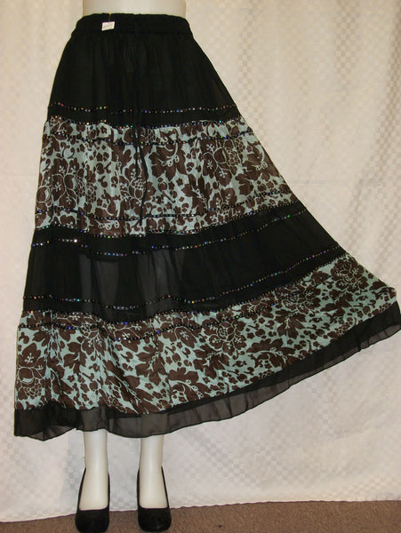 Skirt 3238 Brown Green Georgette Full Skirt Shieno
