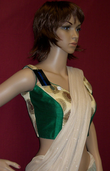 Choli 3276 Green Golden Jamawar Silk Saree Blouse Medium Choli Shieno