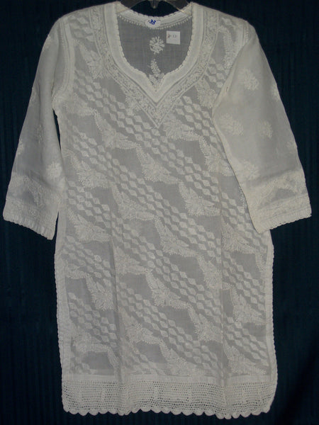 Blouse 033 White Cotton Hand Embroidered Medium Size Tunic Top Kurti Shieno