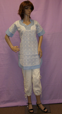 Blouse 034 Cotton White Hand Embroidered Small Size Tunic Top Shieno