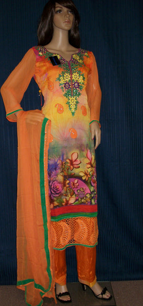 Pakistani Suit 3493 Orange Georgette Party Wear Suit Kameez Pajama Dupatta Shieno