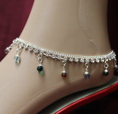 Anklet 3554 Silver Multi Color Payal Indian Shieno Sarees