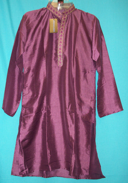 Boy's Kurta Pajama 3638 Purple Silk Embroidered Shieno Sarees