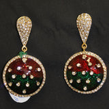 Earrings 3708 Golden Red Green Meenakari Indian Earrings Shieno Sarees