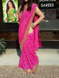 Saree 383 Pink Chiffon Party Wear Sari Shieno Sarees