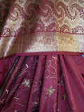 Saree 387 Maroon Banarsi Saree Silk Cocktail Evening Party Wear Shieno Sarees
