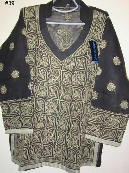 Blouse 039 Cotton Black Hand Embroidered Small Size Tunic Top Kurti
