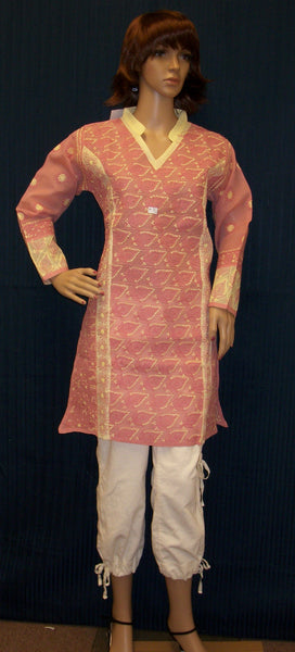 Blouse 003 Kurti Cotton Melon Pink Hand Embroidered Shieno Sarees