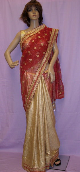 Saree 4003 Maroon Net Golden Silk Half & Half Sari Choli Shieno Sarees