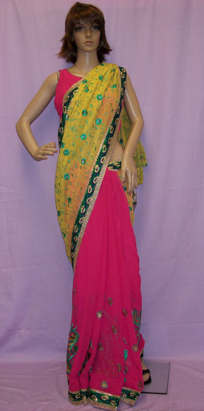 Saree 4006 Mustard Pink Chiffon Half & Half Party Wear Sari Shieno Sarees