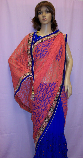 Saree 4015 Orange Net Blue Chiffon Half & Half Sari Shieno Sarees