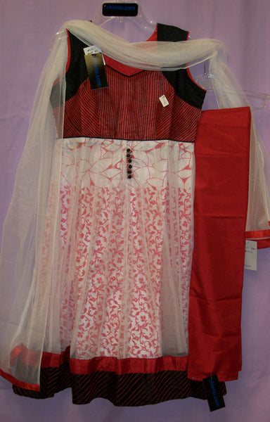 Girl's 4044 White Red Anarkali Churidar Suit Shieno Sarees