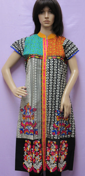 Blouse 4046 White Printed Cotton Large L Size Kurti Tunic Shirt Shieno Sarees