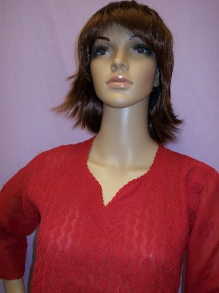 Blouse 041 Cotton Red Hand Embroidered Small Size Tunic Top Kurti Shieno