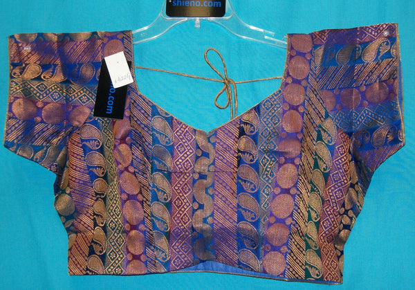 Choli 4225 Blue Golden X Large Choli Sari Blouse Shieno Sarees
