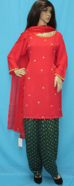 Patyala 4250 Green Red Georgette L Sexy Women Salwar Suit