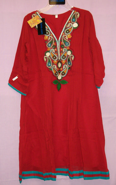 Kurti 4254 Red Georgette Tunic Top Shirt Blouse Kurti Medium Size Shieno