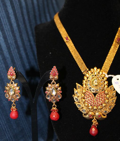 Necklace 4484 Golden Zircon Red Green Stones Indian Set Shieno Sarees