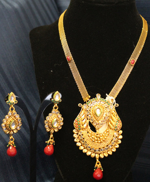 Necklace 4485 Zircon Red Green Stones Indian Set Shieno Sarees