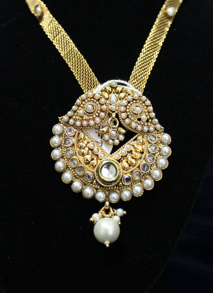 Necklace 4486 Golden Zircon Pearls Polki Indian Set Shieno Sarees