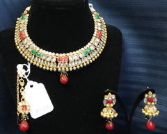 Necklace Set 4491 Golden Zircon Red Green Necklace Maang Tikka Shieno