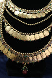 Necklace 4494 Golden Zircons Red Green Indian Necklace Set Shieno Sarees