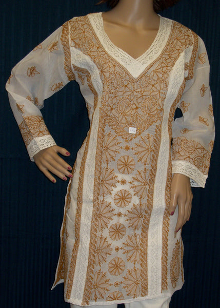 Blouse 045 Cotton White Hand Embroidered Medium Size Tunic Top Kurti Shieno