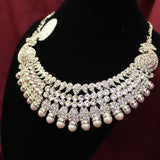Necklace 4524 Silver Polki Set Indian Designer Shieno Sarees
