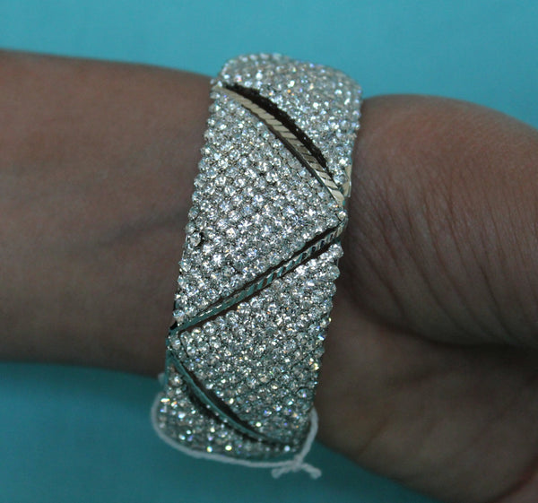 Bangle 4548 Silver Indian Bracelet Polki Jewelry Shieno Sarees